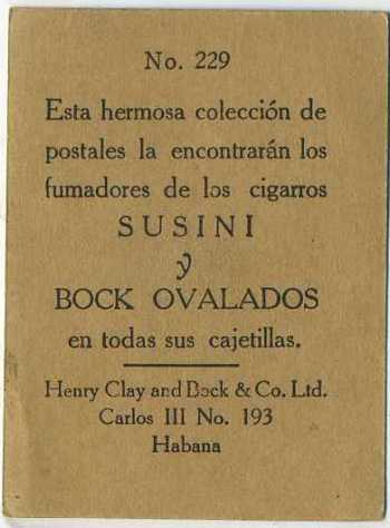 Sample of Reverse Side of Henry Clay and Bock Susini y Bock Ovalados Tobacco Cards