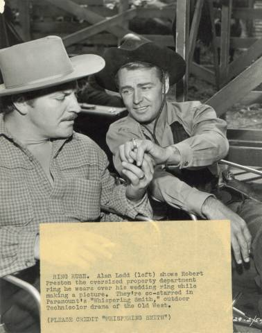 Late 1940's Alan Ladd and Robert Preston PR Press Photo with tag