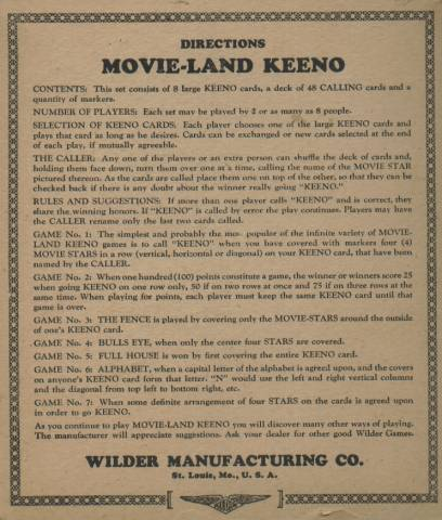 1929 Movie-Land Keeno Game Directions