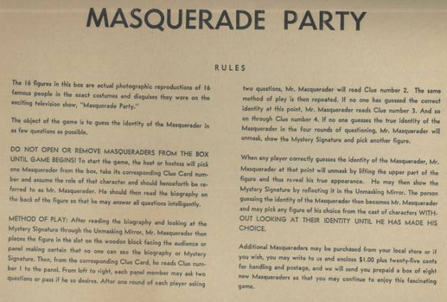 Masquerade Game Rules