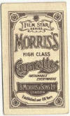 Reverse side of 1923 B. Morris & Sons Film Star Series Tobacco Card